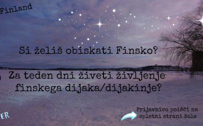 Gimnazijec/gimnazijka! Želiš doživeti Finsko?